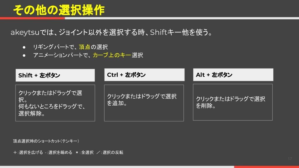 その他の選択操作 akeytsuでは、ジョイント以外を選択する時、Shiftキー他を使う。 1...