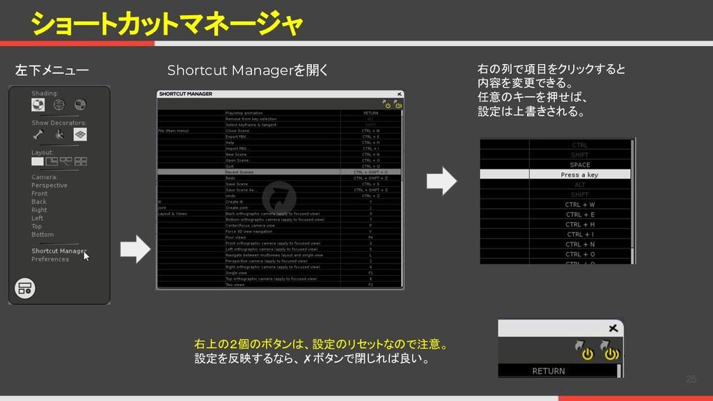ショートカットマネージャ 25 左下メニュー Shortcut Managerを開く 右の列で...