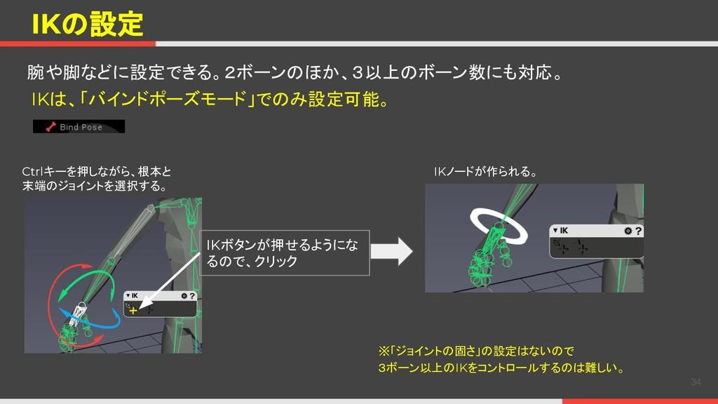 IKの設定 腕や脚などに設定できる。2ボーンのほか、3以上のボーン数にも対応。 34 Ctrl...
