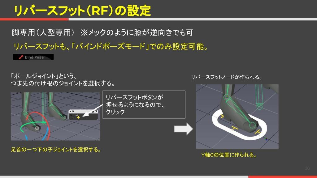 リバースフット(RF)の設定 36 脚専用(人型専用) ※メックのように膝が逆向きでも可 リバ...