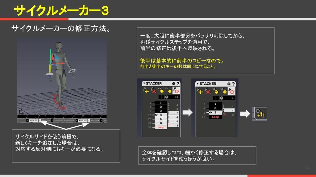 サイクルメーカー3 サイクルメーカーの修正方法。 75 サイクルサイドを使う前提で、 新しくキ...