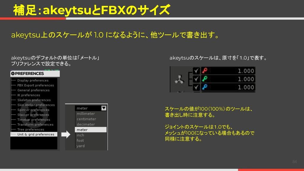補足:akeytsuとFBXのサイズ akeytsu上のスケールが 1.0 になるように、他ツ...