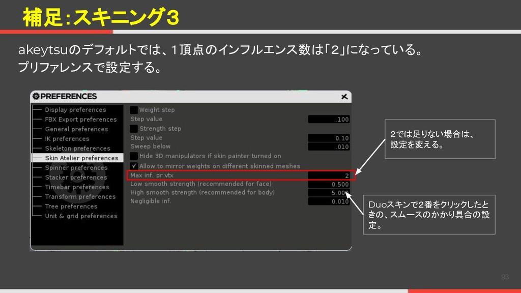 補足:スキニング3 93 akeytsuのデフォルトでは、1頂点のインフルエンス数は「2」にな...