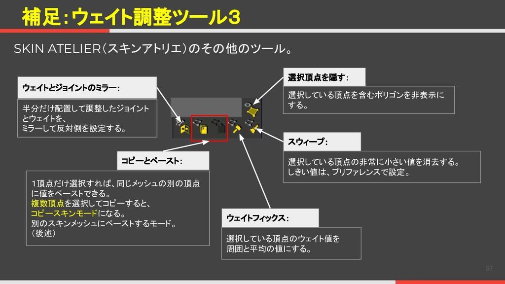 補足:ウェイト調整ツール3 97 SKIN ATELIER(スキンアトリエ)のその他のツール。...