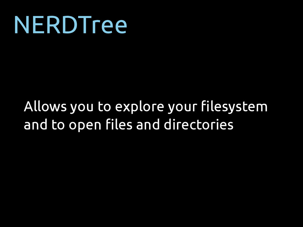 NERDTree Allows you to explore your filesystem a...
