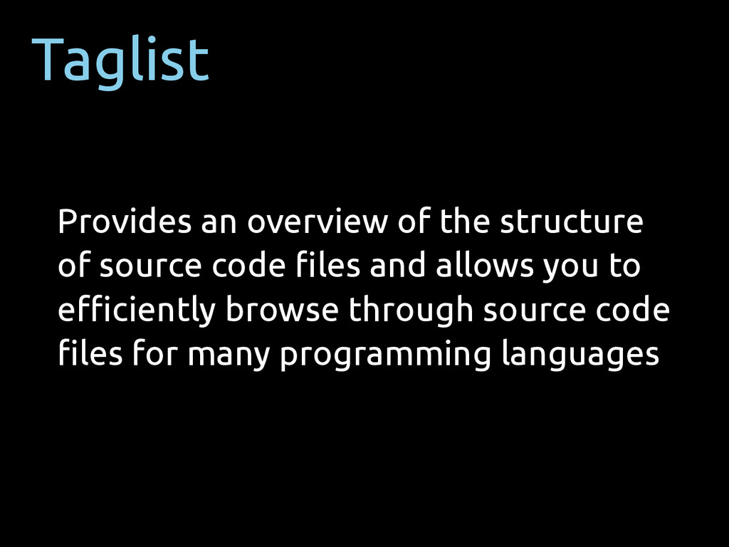 Taglist Provides an overview of the structure o...