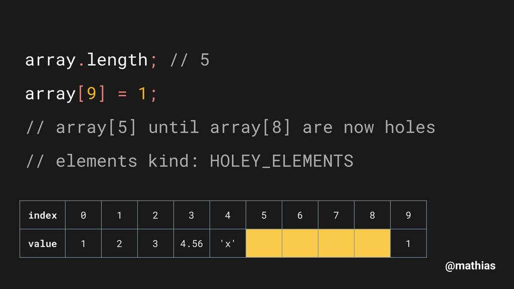 @mathias array.length; // 5 array[9] = 1; // a...