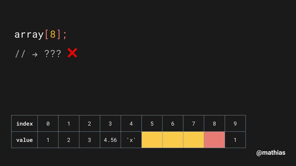 """@mathias array[8]; // """" ??? ❌ index 0 1 2 3 4 ..."""