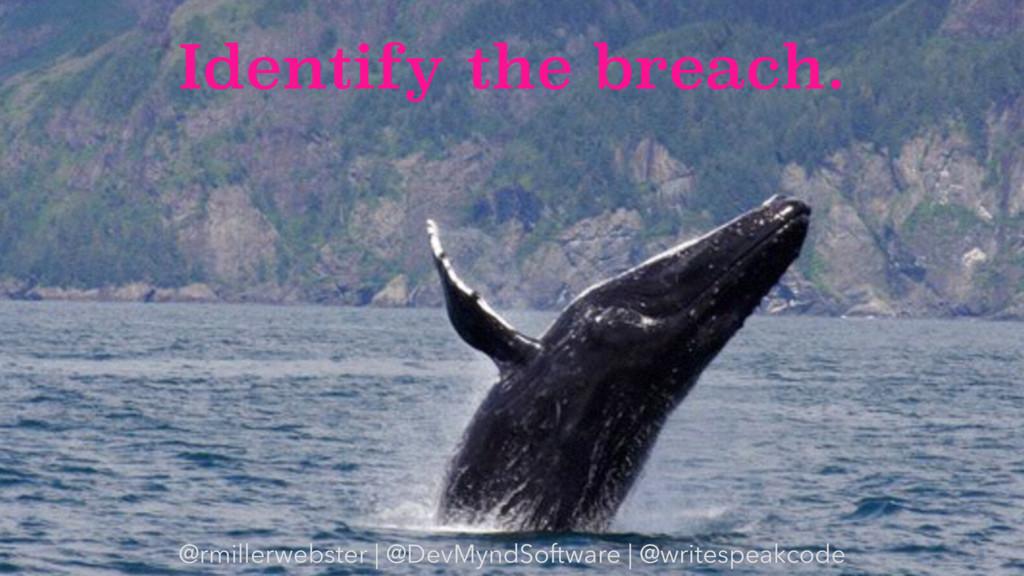 Identify the breach. @rmillerwebster | @DevMynd...
