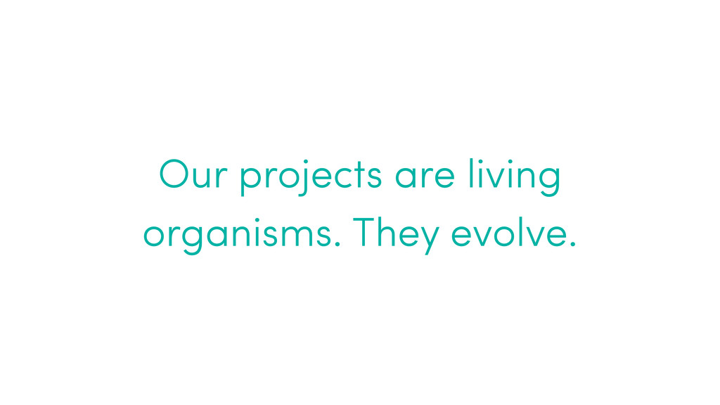 Our projects are living organisms. They evolve.