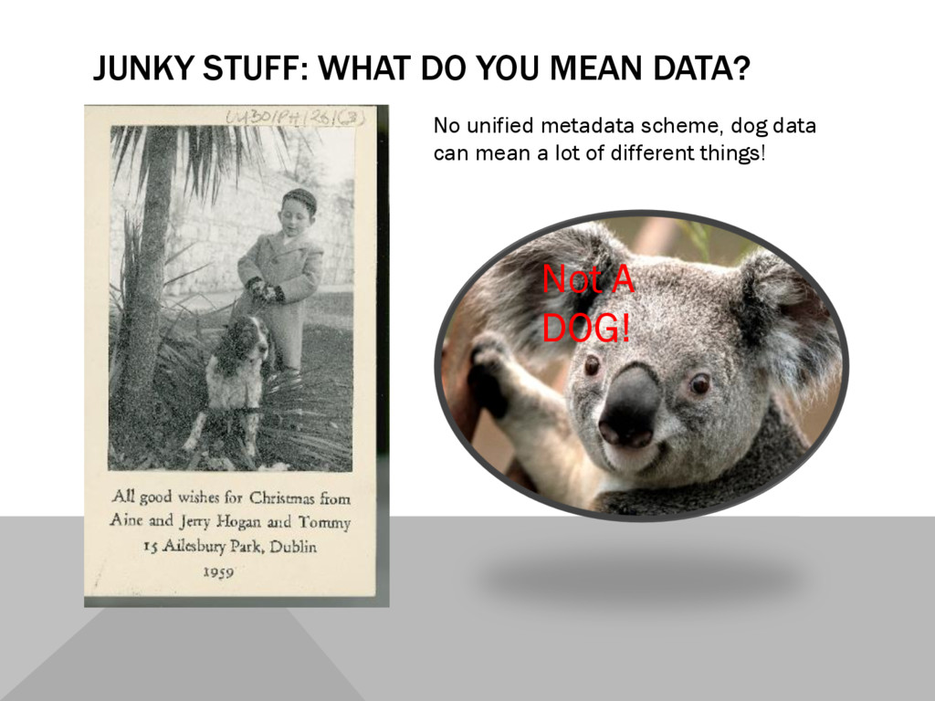 JUNKY STUFF: WHAT DO YOU MEAN DATA? No unified ...