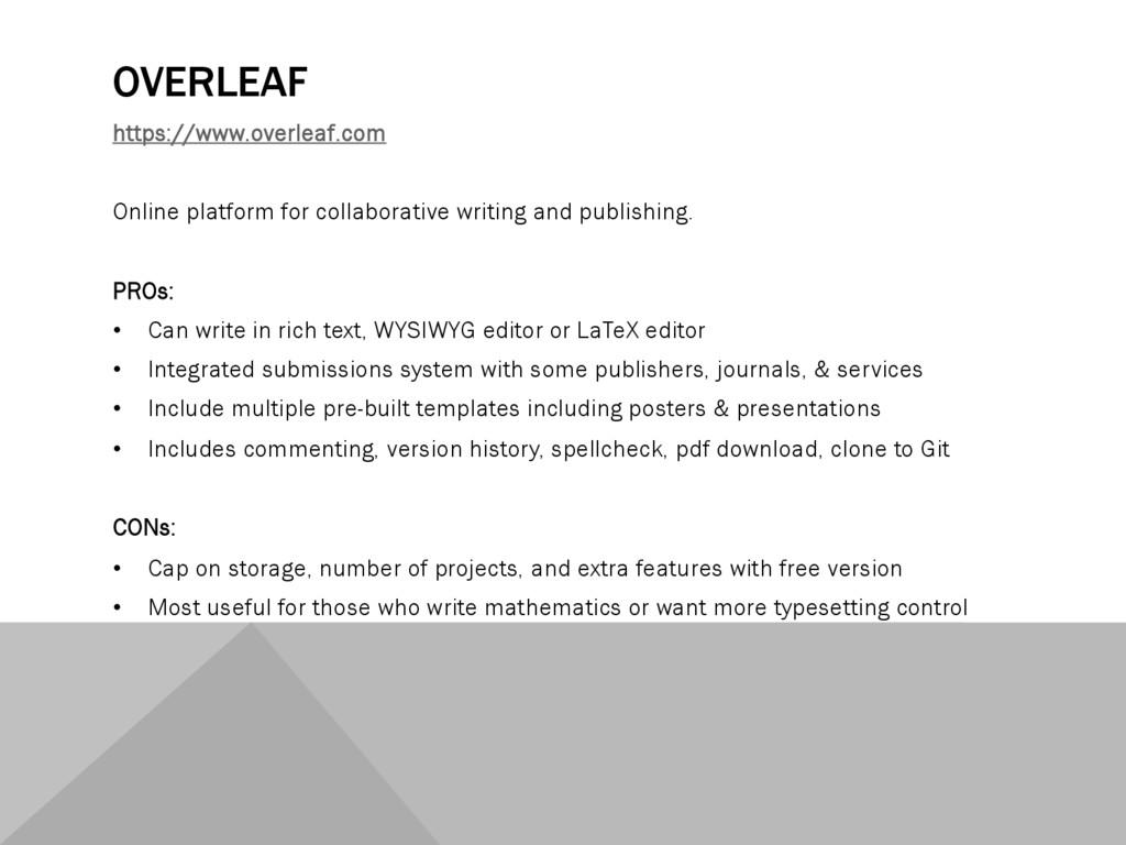 OVERLEAF https://www.overleaf.com Online platfo...