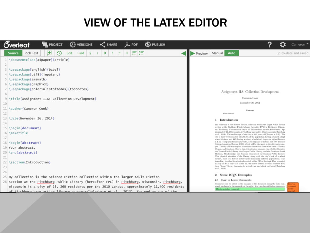 VIEW OF THE LATEX EDITOR