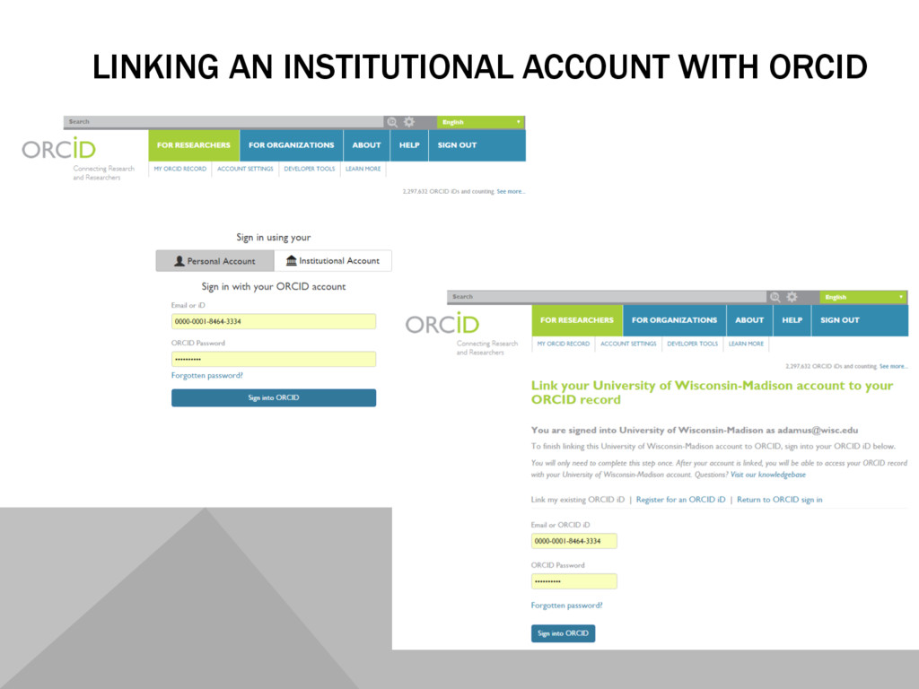 LINKING AN INSTITUTIONAL ACCOUNT WITH ORCID