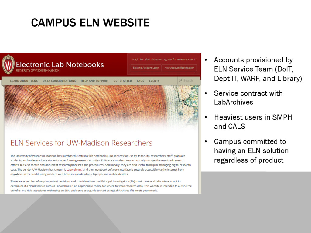 CAMPUS ELN WEBSITE •  Accounts provisioned by E...
