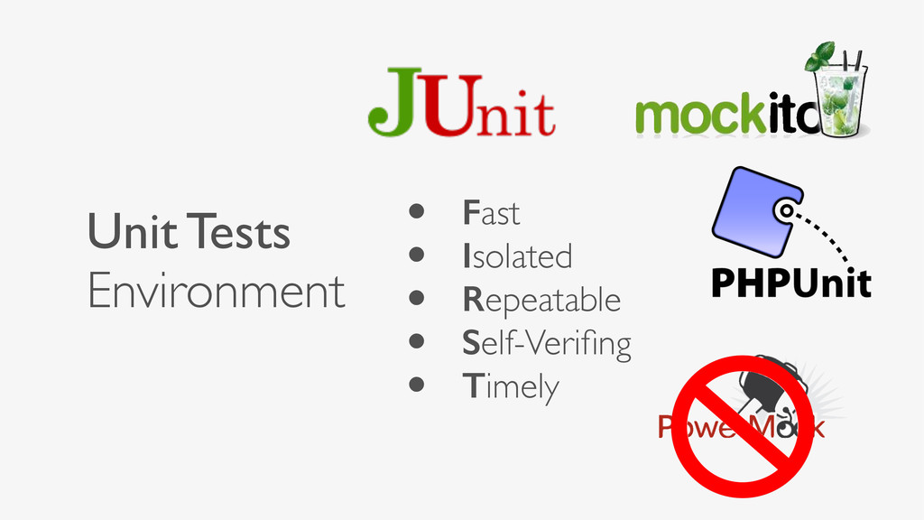 Unit Tests Environment • Fast • Isolated • Repe...