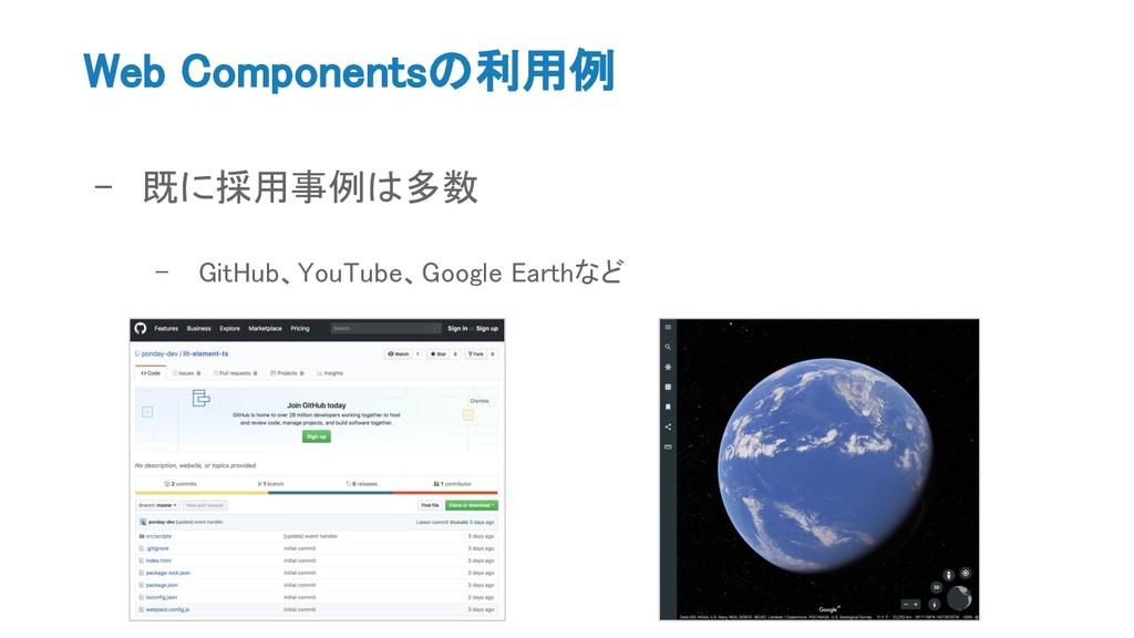 Web Componentsの利用例 - 既に採用事例は多数 - GitHub、YouTube...