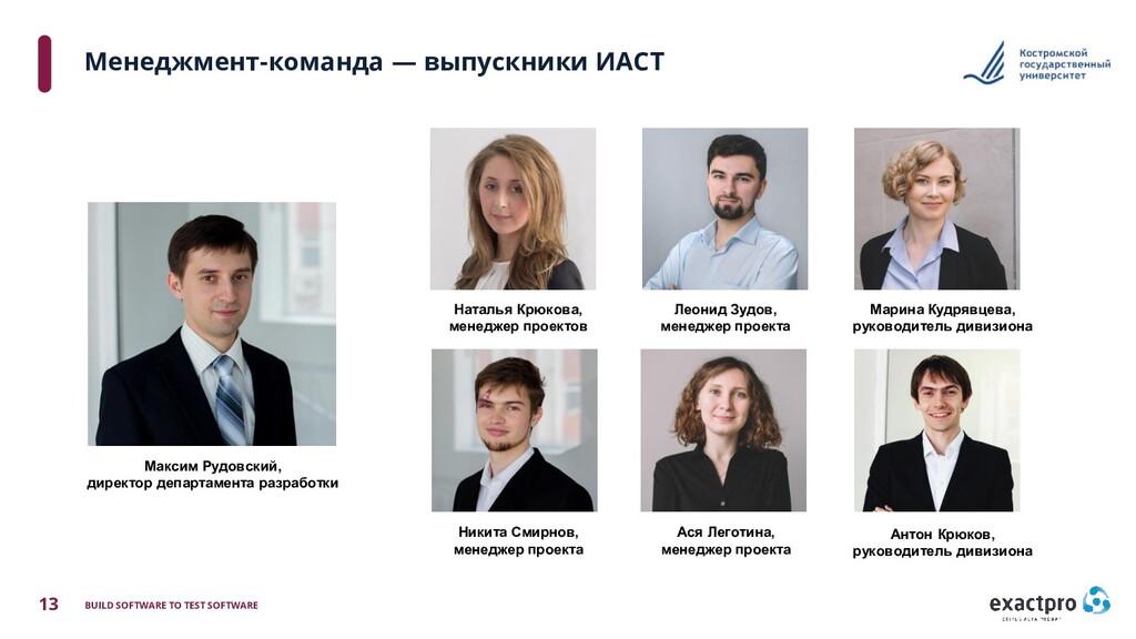 13 BUILD SOFTWARE TO TEST SOFTWARE Менеджмент-к...