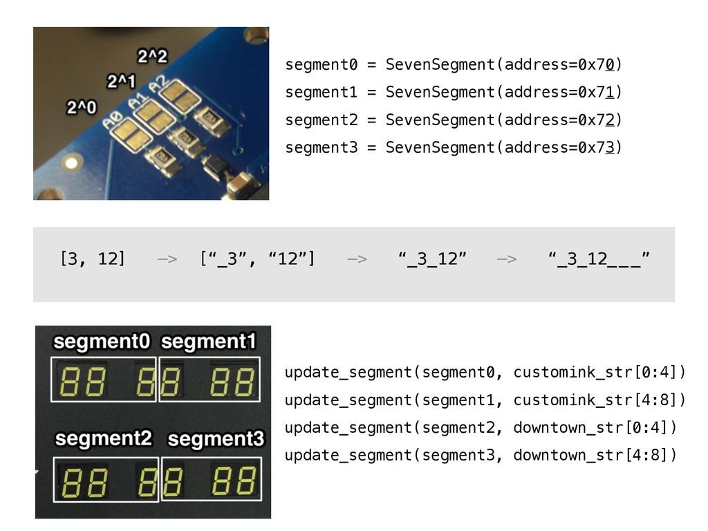 segment0 = SevenSegment(address=0x70) segment1 ...