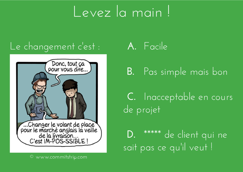 Levez la main ! A. Facile B. Pas simple mais bo...