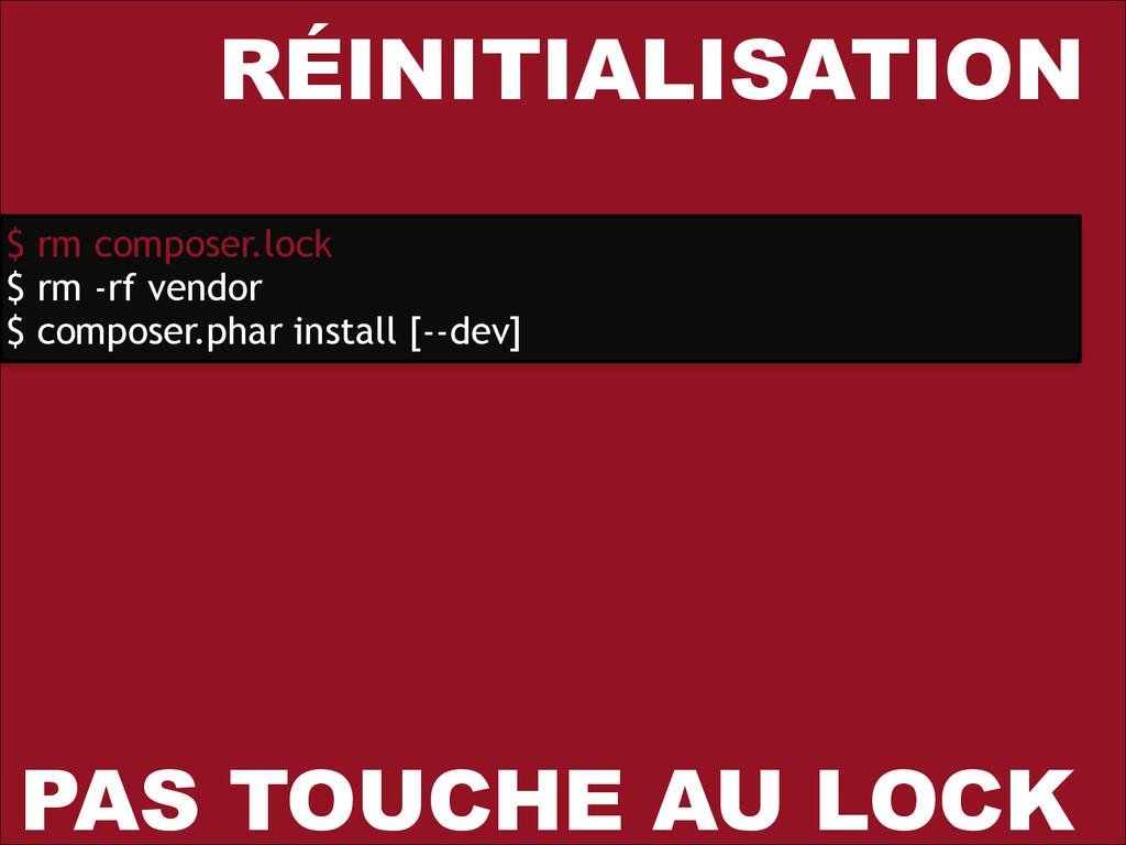 RÉINITIALISATION $ rm composer.lock $ rm -rf ve...