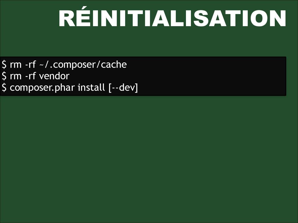 RÉINITIALISATION $ rm -rf ~/.composer/cache $ r...