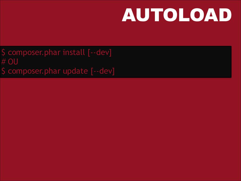 AUTOLOAD $ composer.phar install [--dev] # OU $...