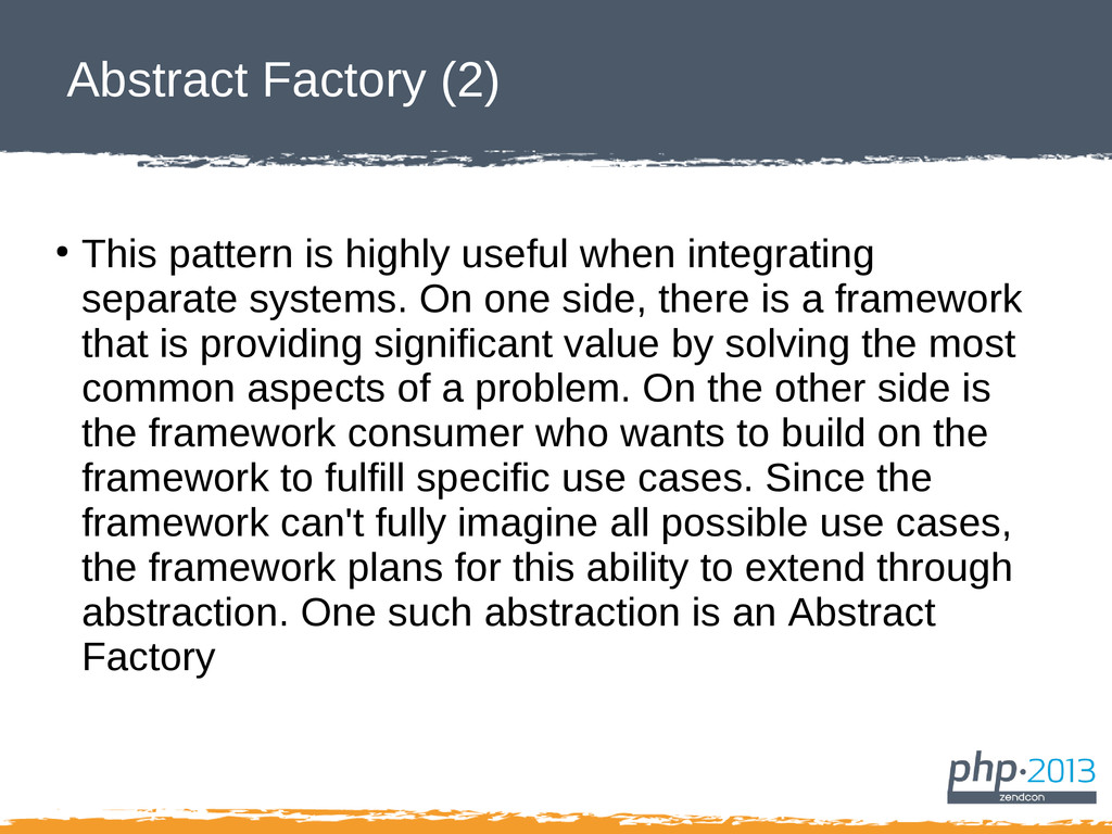 Abstract Factory (2) ● This pattern is highly u...