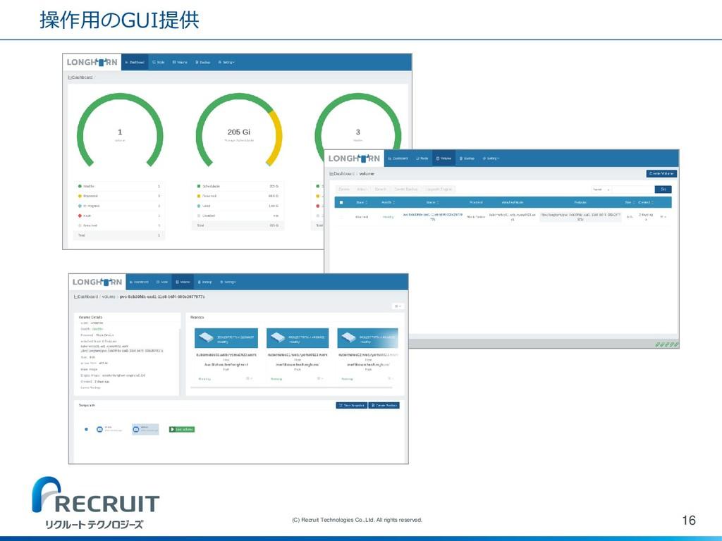 操作用のGUI提供 16 (C) Recruit Technologies Co.,Ltd. ...