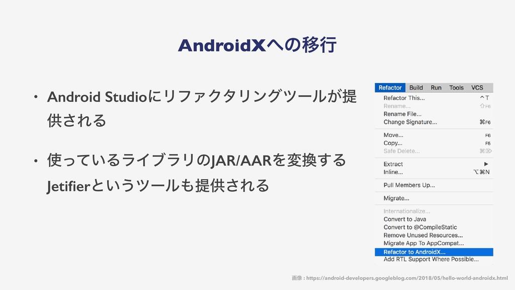 AndroidXͷҠߦ • Android StudioʹϦϑΝΫλϦϯάπʔϧ͕ఏ ڙ͞Ε...