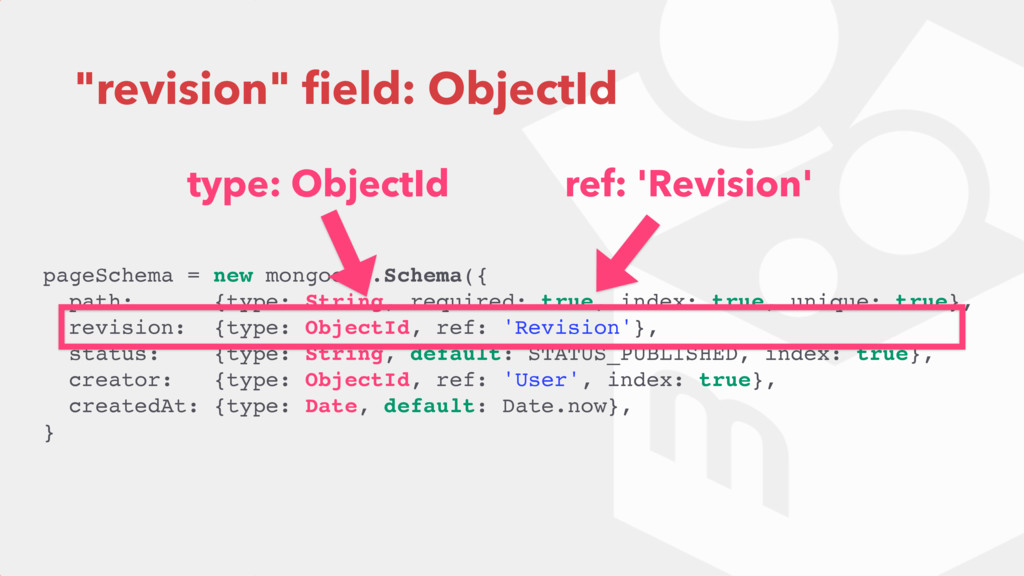 """revision"" field: ObjectId pageSchema = new mong..."