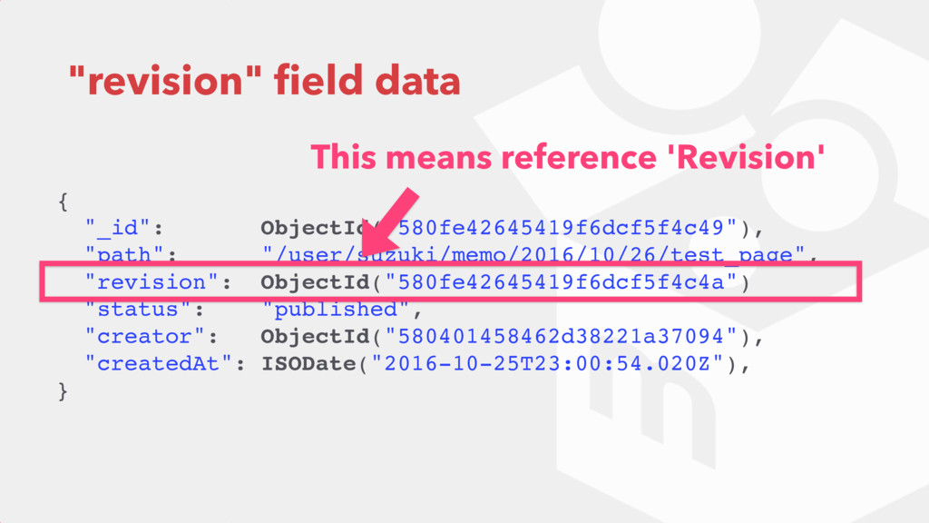 """revision"" field data { ""_id"": ObjectId(""580fe42..."