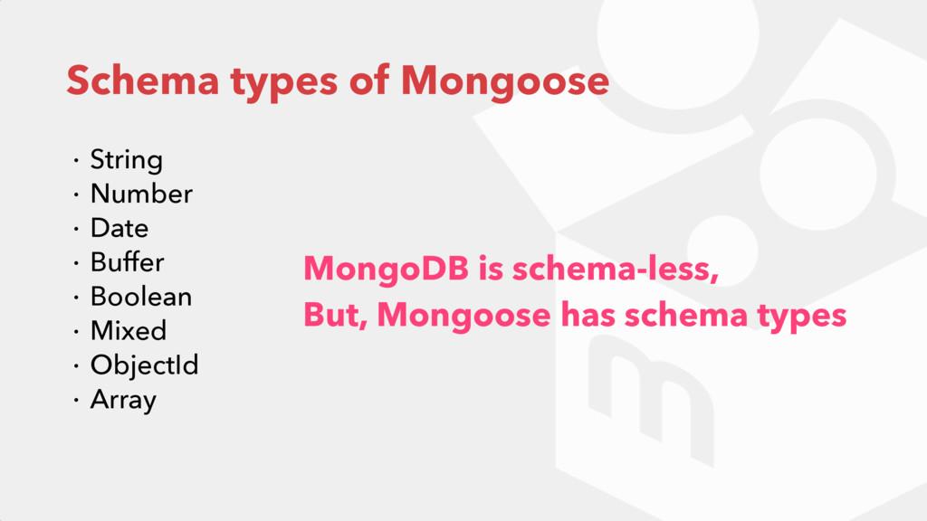 Schema types of Mongoose ɾ String ɾ Number ɾ Da...