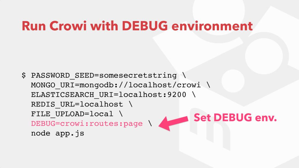Run Crowi with DEBUG environment  $ PASSWORD_S...