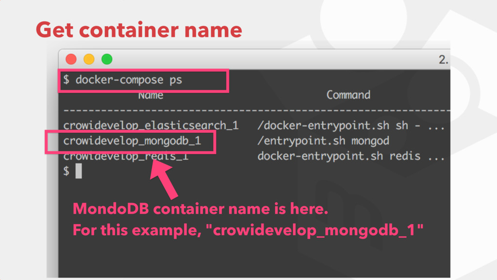 Get container name MondoDB container name is he...