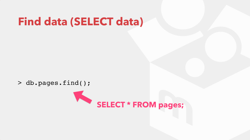 Find data (SELECT data) > db.pages.find(); SELE...