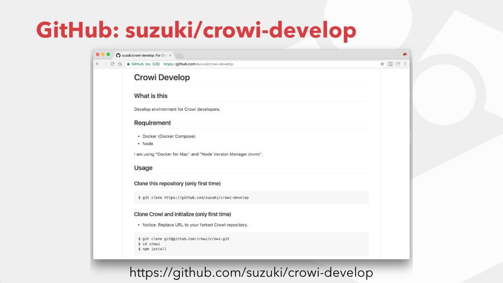GitHub: suzuki/crowi-develop https://github.com...