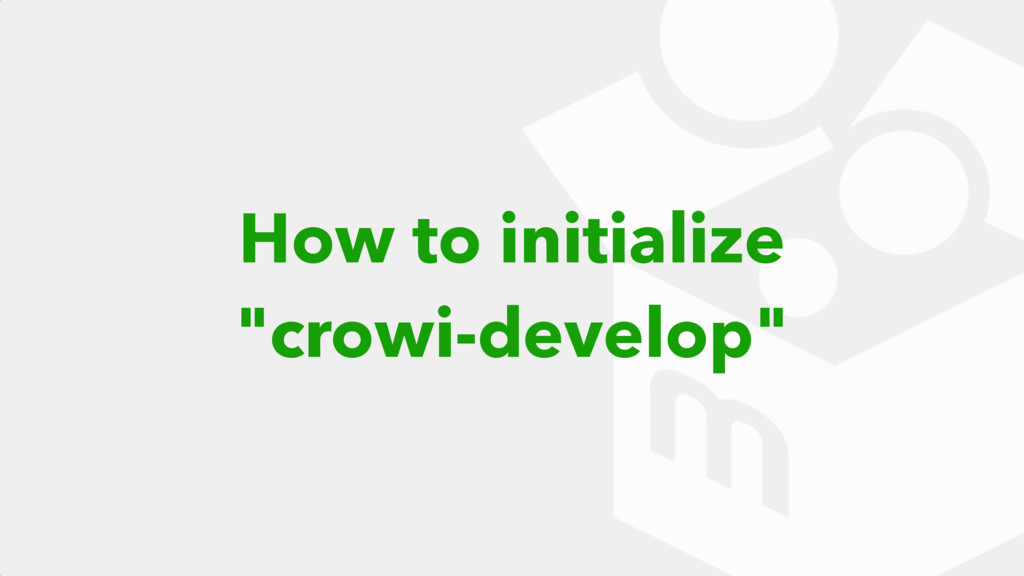 How to initialize