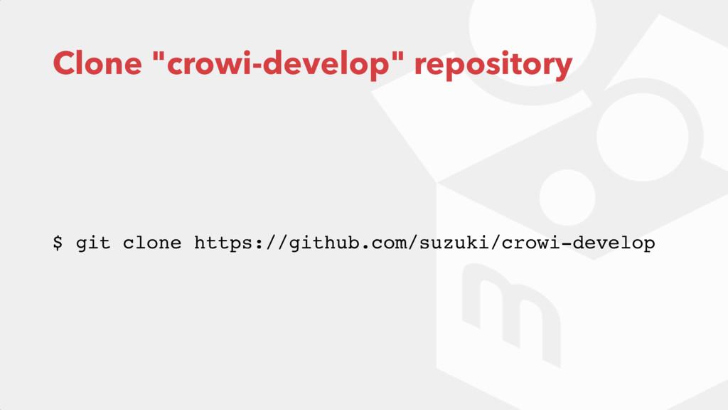 """Clone """"crowi-develop"""" repository $ git clone ht..."""