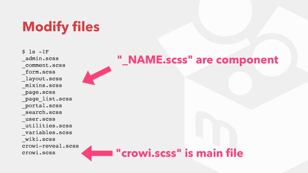 Modify files $ ls -1F _admin.scss _comment.scs...