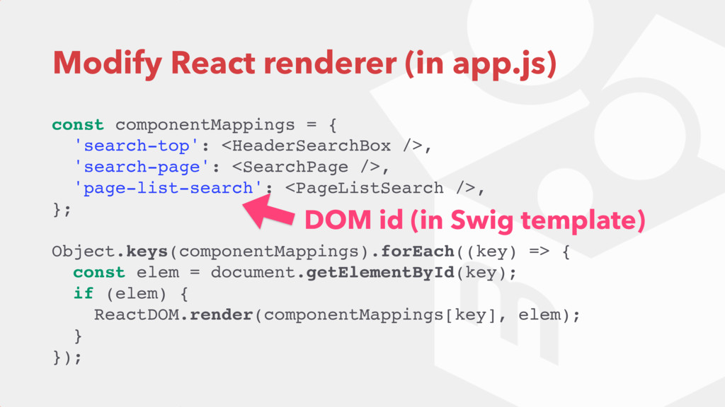 Modify React renderer (in app.js) const compone...