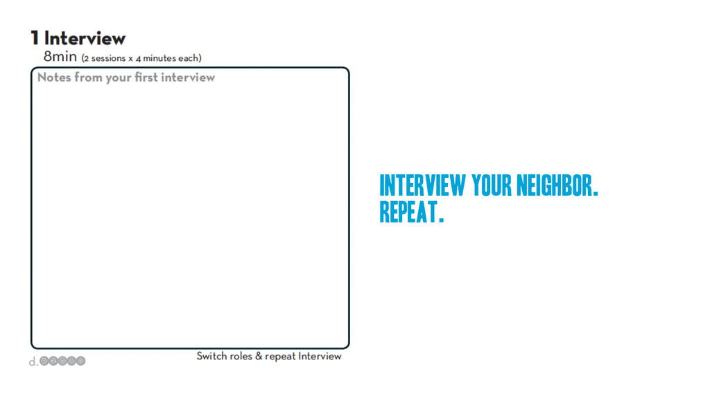 Interview your neighbor. repeat.