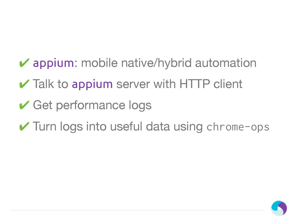 ✔ appium: mobile native/hybrid automation ✔ Tal...