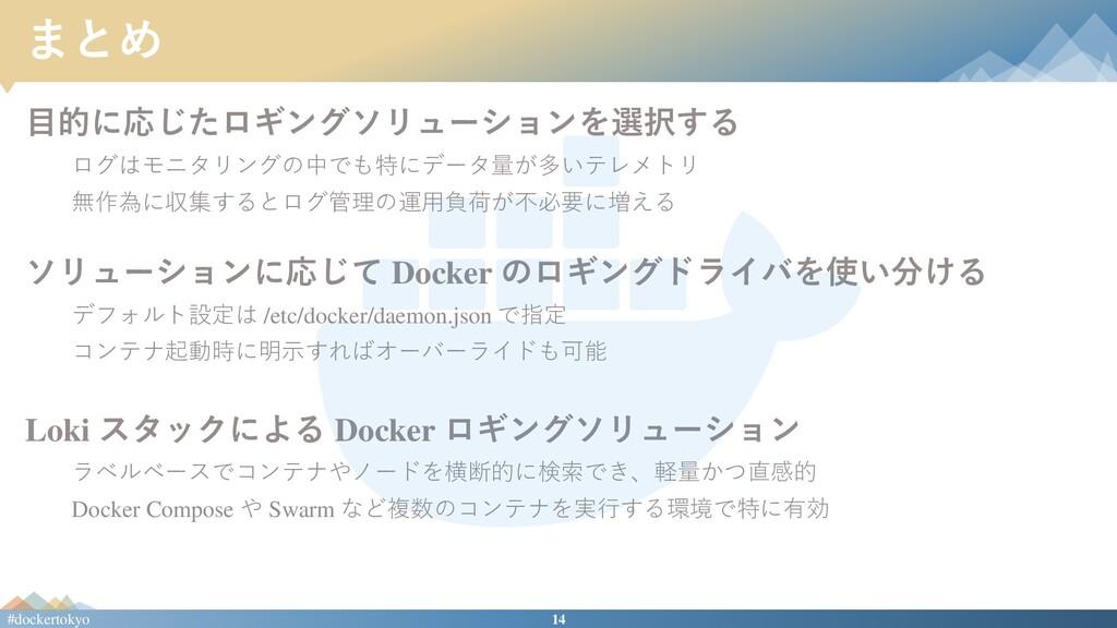 14 #dockertokyo まとめ 目的に応じたロギングソリューションを選択する ログはモ...