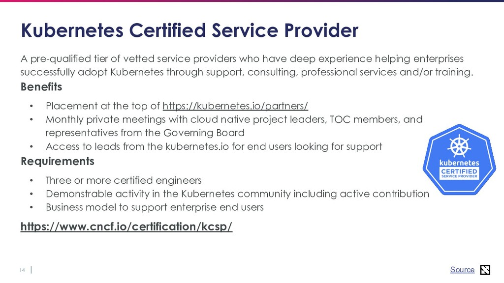 14 Kubernetes Certified Service Provider A pre-...