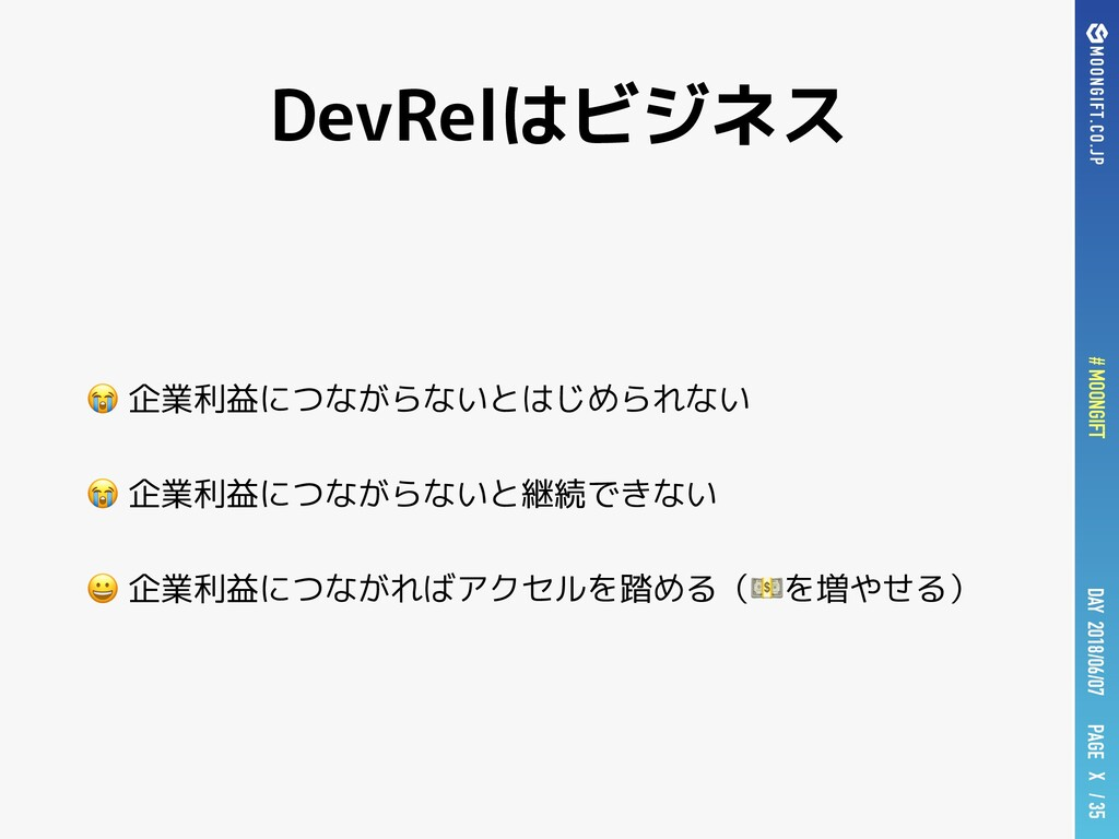 PAGE # MOONGIFT X / 35 DAY 2018/06/07 DevRelはビジ...