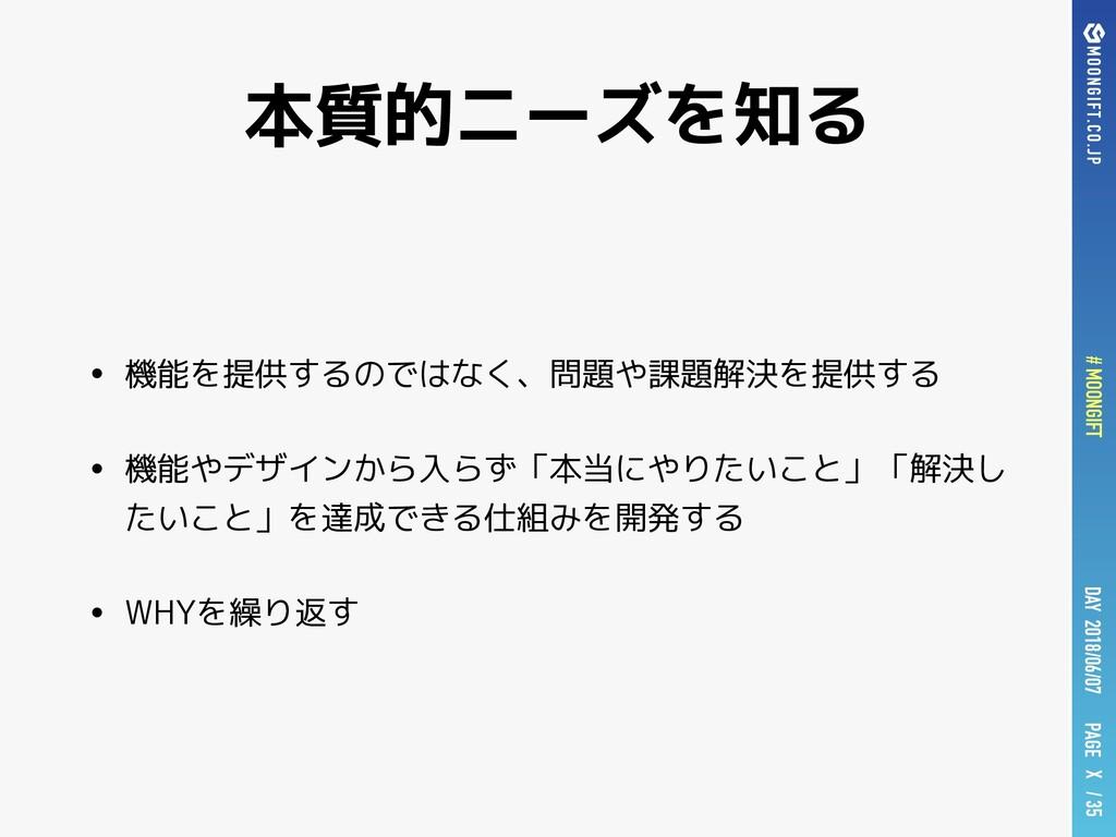 PAGE # MOONGIFT X / 35 DAY 2018/06/07 本質的ニーズを知る...