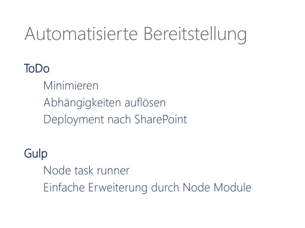Automatisierte Bereitstellung ToDo Minimieren A...