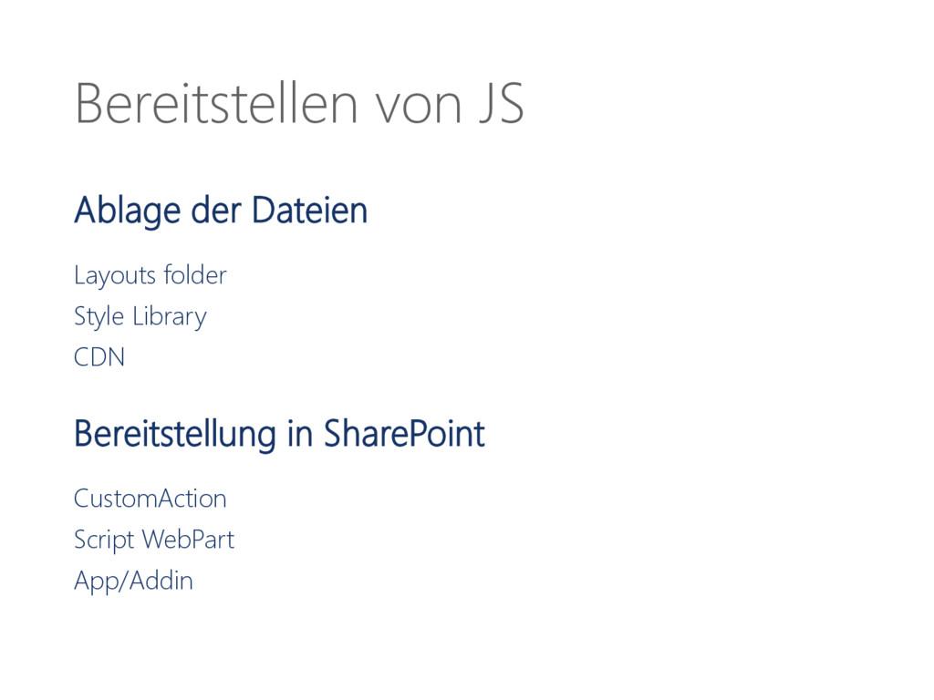 Bereitstellen von JS Ablage der Dateien Layouts...