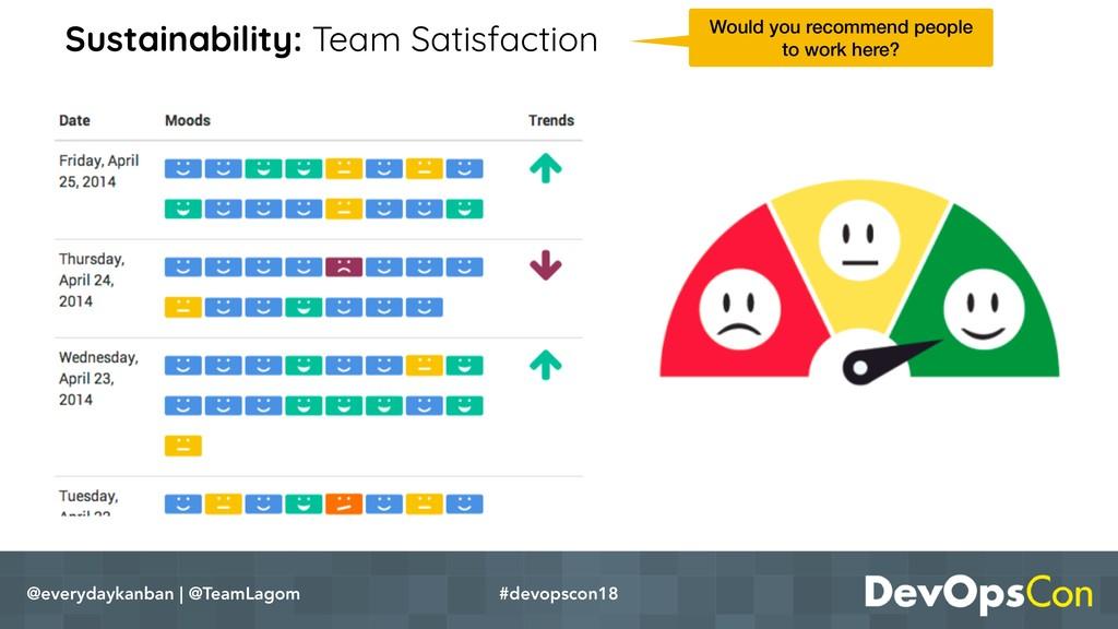 Sustainability: Team Satisfaction @everydaykanb...